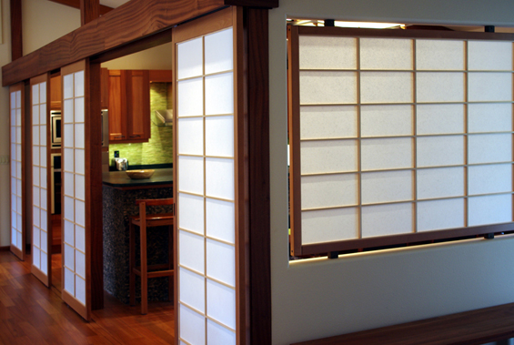 Beautiful kitchen dining room with custom shoji screens and a wall inset shoji panel
