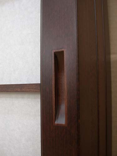 Japanese cherry door pull stained to match