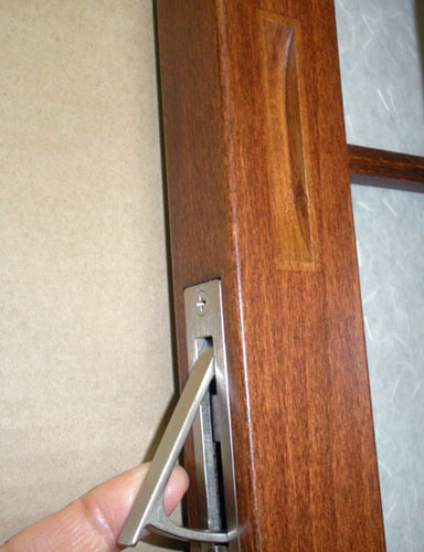 Satin Nickel Edge Pull in stained Beech